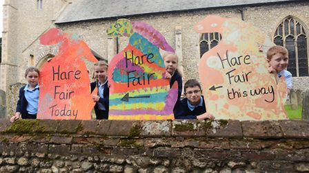 Getting ready for the Hare Fair in Docking are (from left) Olivia Matkin, Amy Howard, Kirstie Nudds,