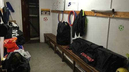 Inside the changing rooms and hut at Toftwood Recreation Ground used by Dereham Saints. Picture: Dan