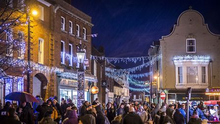 Scenes from Fakenham Christmas Lights switch on 2015 - The lights in the town centre. Picture: Matth