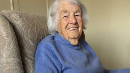 Peggy Hebden, 95, who has created a tapestry dedicated to the 13 Brisley men who lost their lives in