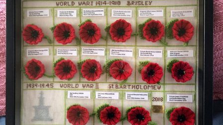 The tapestry created by Peggy Hebden, 95, which will go on show as part of an exhibition commemorati