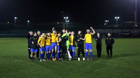 The Ghosts celebrate clinching a final date at Carrow Road after winning a penalty dshoot-out agains