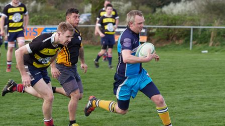 Mark Allen outpacing the Broadlands defence and scoring for Fakenham. Picture: Mike Wyatt