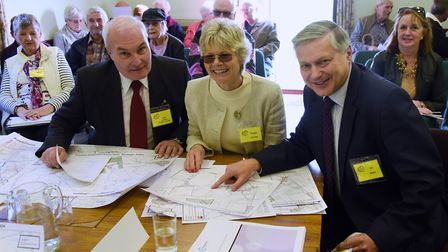 Yaxham Parish Council (YPC) chairman, Peter Lowings, front left, with Maggie Oechsle, chairman of th