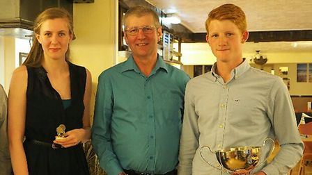 Doubles and Handicap Cup winners Bircham A, from left to right Laura Marsh, Andy Marsh and Aaron Ho