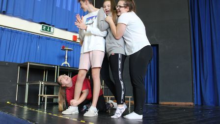 Young actors rehersing for Northgate High School and Dereham Sixth Form College's production fo Beau
