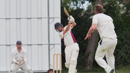 Cookes of Fakenham man-of-the-match Harry Bammant on his way to his maiden first team century on Sat