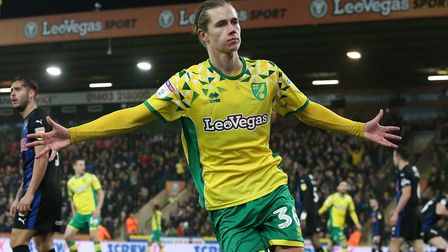 Todd Cantwell of Norwich celebrates scoring his sideÕs 1st goal during the Sky Bet Championship matc