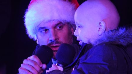 Denver Clinton, right, ready to switch on the Dereham Christmas lights, with Lee Rudd. Picture: DENI