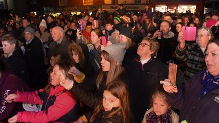 The crowd joins in with the Baby Shark song at the Dereham Christmas lights switch on event. Picture