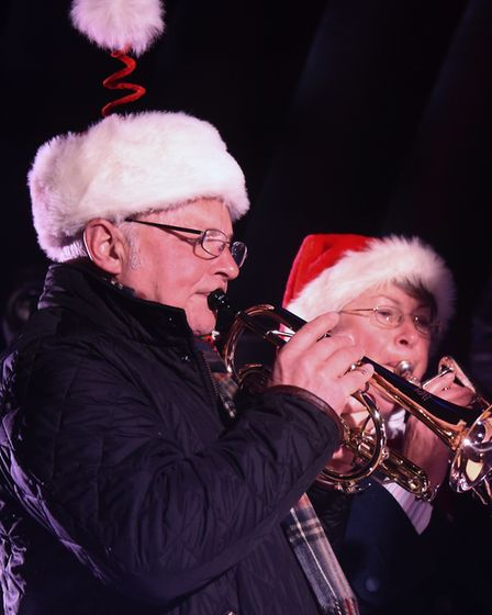 Members of the Dereham Town Band play at the Christmas lights switch on event. Picture: DENISE BRADL