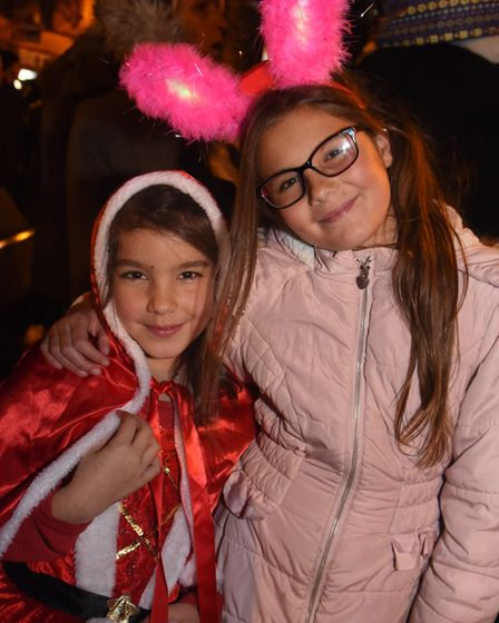 Crystal Constable, eight, and her sister Skye Butters, 10, at the Dereham Christmas lights switch on