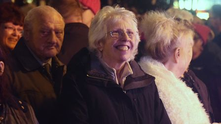 Happy crowds sing carols at the Dereham Christmas lights switch on event. Picture: DENISE BRADLEY