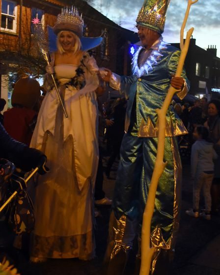 Characters thrill the crowds at the Dereham Christmas lights switch on event. Picture: DENISE BRADLE