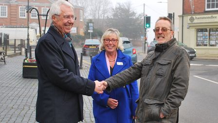 District cllr Paul Claussen, district cllr Alison Webb and Mike Webb, chair of aboutDereham Partners