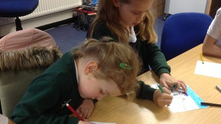 Children have created Christmas cards to send to the community. Picture: Chrissy Gold