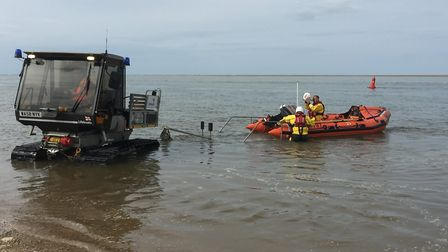Wells Inshore Lifeboat launching during the open day. Picture: Wells Lifeboat