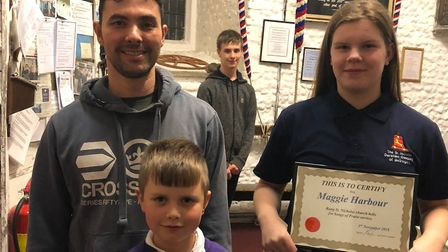 Max Meeson, 7, and Maggie Harbour, 11, received their bell ringing certificates at St Nicholas Churc