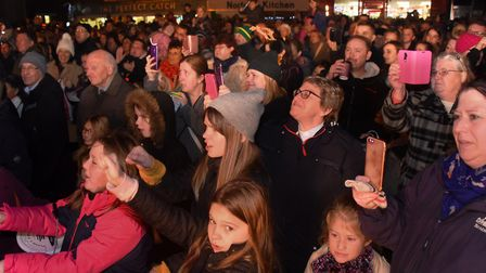 The crowd joins in with the Baby Shark song at the Dereham Christmas lights switch on event in 2018.