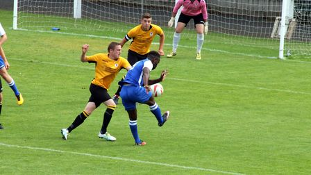 Stuart Garner in close attention as Coggeshall get a shot in on goal. Picture: Tony Miles