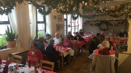 Guests at the Tea Pot Cafe in Swaffham enjoy a Christmas dinner. Picture: STUART ANDERSON