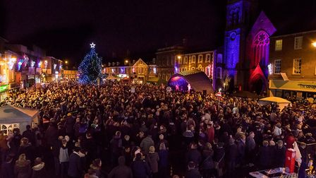 Dereham's Market Place was packed for the Christmas lights switch on. Picture: Michael Lyons Photog