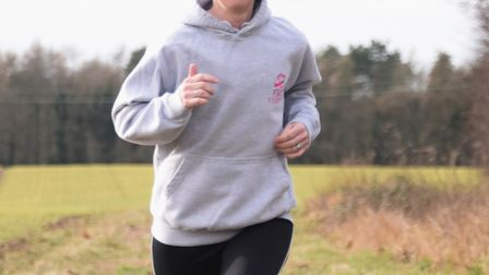 Amanda Pilbeam of Litcham, in training for the London Marathon to raise funds for the Flat Friends g