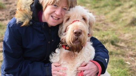 Amanda Pilbeam of Litcham, keeping active by walking her dog Flo, as she is in training for the Lond