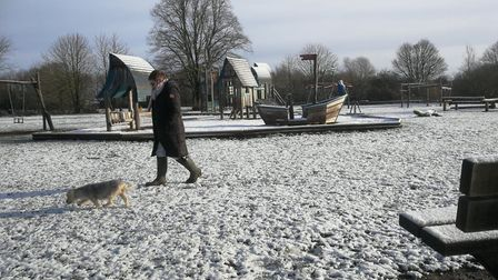 Dog walker at Neatherd Moor in Dereham in the snow January 30, 2019. Picture: DONNA-LOUISE BISHOP