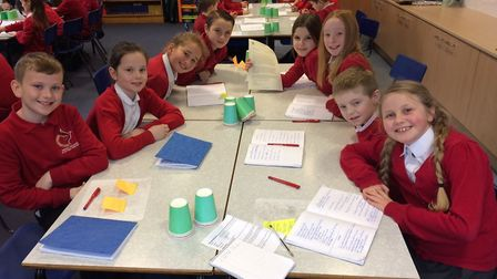 Reepham Primary School pupils with Keith Simpson's letter. Picture: David Bale