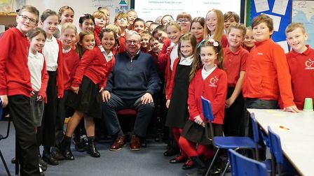 Reepham pupils with MP Keith Simpson. Picture: Charlie Wallis