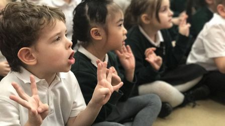 Pupils at Toftwood Infant and Junior School took part in national Sign2Sing day on Thursday. Photo:
