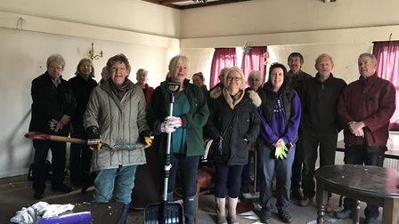 The group of volunteers cleaning and refurbishing the Ploughshare in Beeston. Picture: Victoria Pert