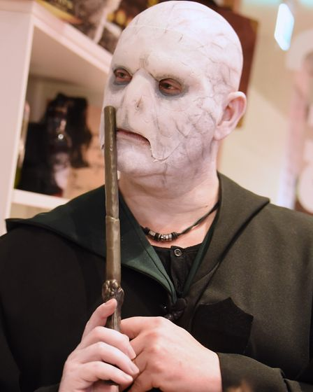 Local author Alex Scarrow as Lord Voldemort, during Neatherd High School's celebration of National H
