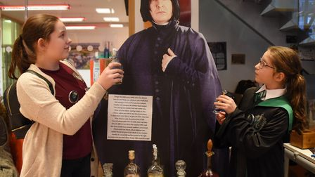 A potions lesson with Professor Snape, with 11-year-olds Connie Griffin, left, and Ashley Bell, as N
