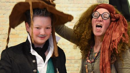Organiser, Lorraine Gill as Professor Trelawney, helps sort students into the houses using the sorti