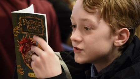 One student reads up on the Fantastic Beasts story as Neatherd High School celebrates National Harry