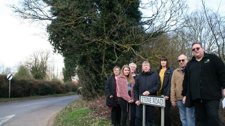 Gathered to campaign for Stone Road, Mattishall, to be gritted, were Linda Warmer, Lucy Keeler, Davi
