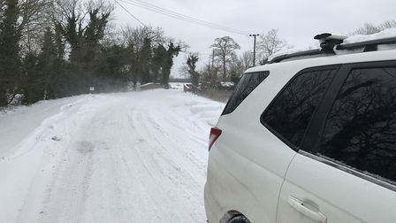 """Rob Nunn's car pictured on the Mattishall Road in the snow. He said: """"This shows how bad it is ungri"""