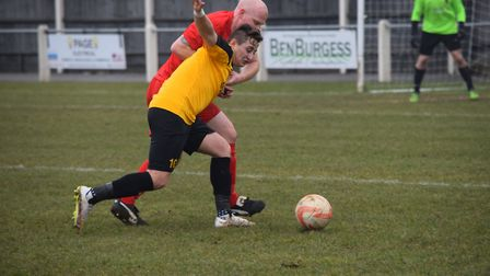 Fakenham Town's Ricky Claxton bagged a brace against Kirkley & Pakefield. Picture: JACKIE PRICE