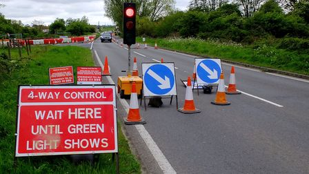 Road works on the A1065 at Hempton. Picture: Archant