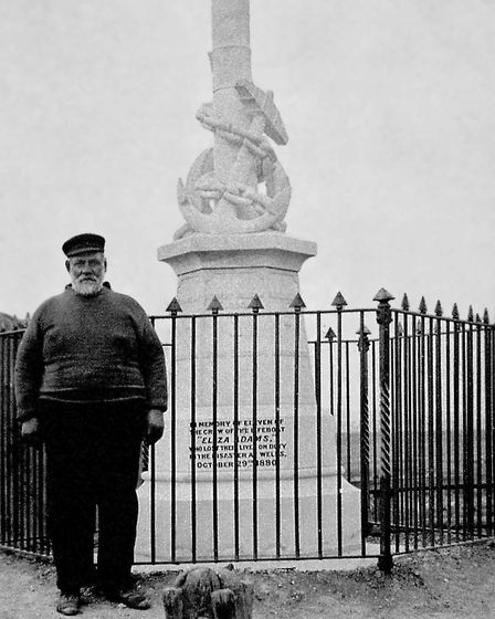 Thomas Kew, one of two survivors of the Eliza Adams tragedy, pictured next to the memorial. He launc
