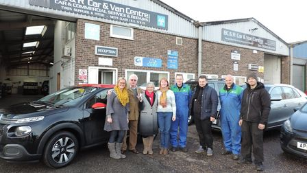 left to right; Hayley Bunkle from BC&R Car & Van Centre with winners Graham and Doreen Goodberry, an