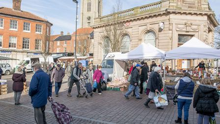 A Fakenham Info Hub store has been set up in the market place. Picture: Matthew Usher.