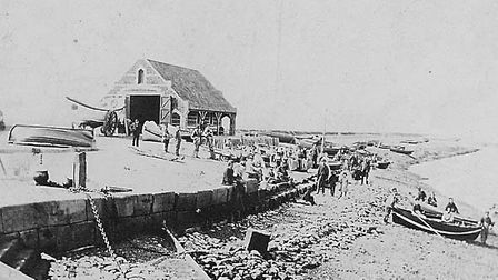 The Eliza Adams and the lifeboat house before the tragedy in 1880.