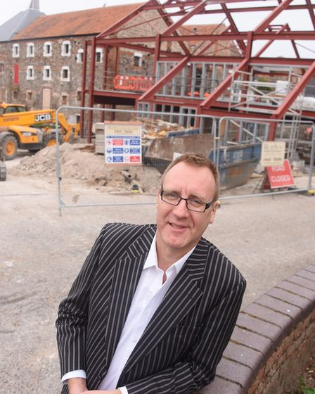 Simon Daykin, general manager of the Wells Maltings, in front of where the extension to the old Malt