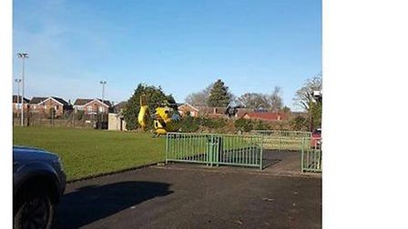 The air ambulance landed on Briston playing field on December 16. Photo: Alan Palmer