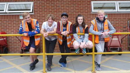 Pupils at Neatherd High during work experience in July 2018. Pictured are pupils at Dereham Post Off