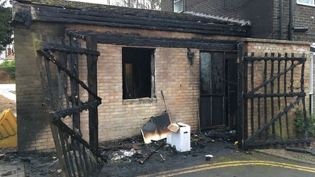 The fire damaged Fakenham Connect building. Picture: Kathryn Cross
