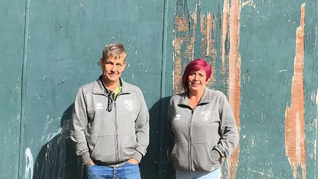 Jack and Sue Cassidy of Dereham Saints Football Club, who are struggling to find enough space for th